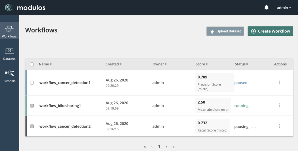 The new workflow overview page.