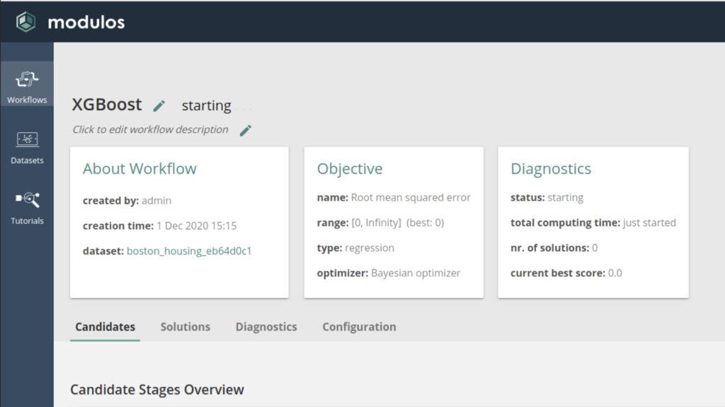 Modulos AutoML platform - workflows