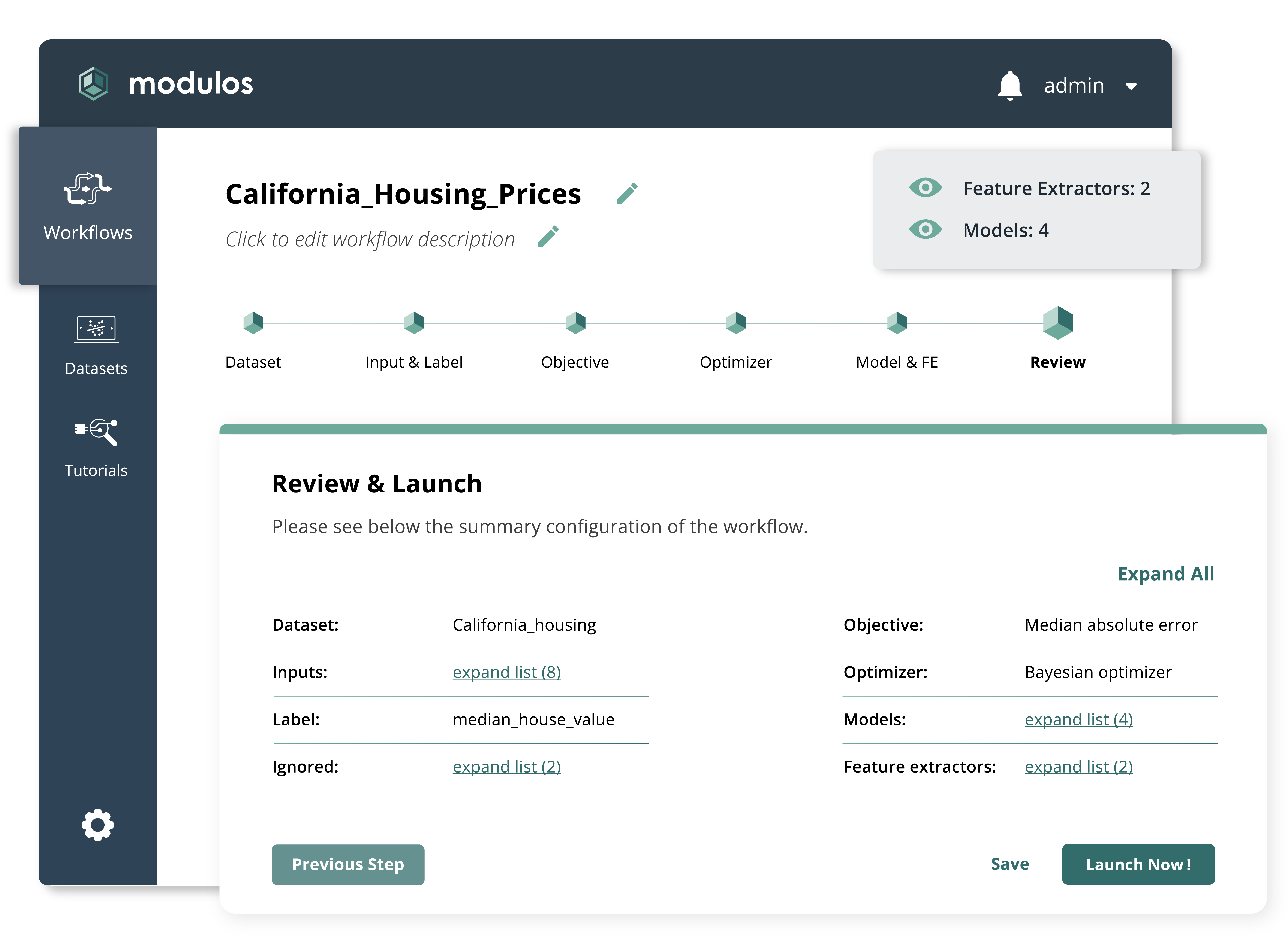 Modulos AutoML product overview - California Housing Prices